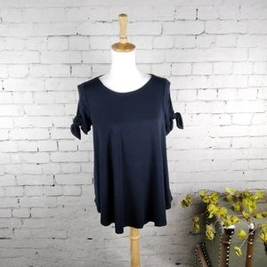 Susana Monaco Tie Sleeve Top In Midnight Blue S